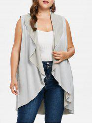 Plus Size Faux Suede Long Vest -