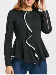 Ruffles Color Block Zip Up Peplum Jacket -