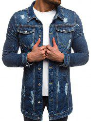 Flap Pocket Vintage Denim Coat -
