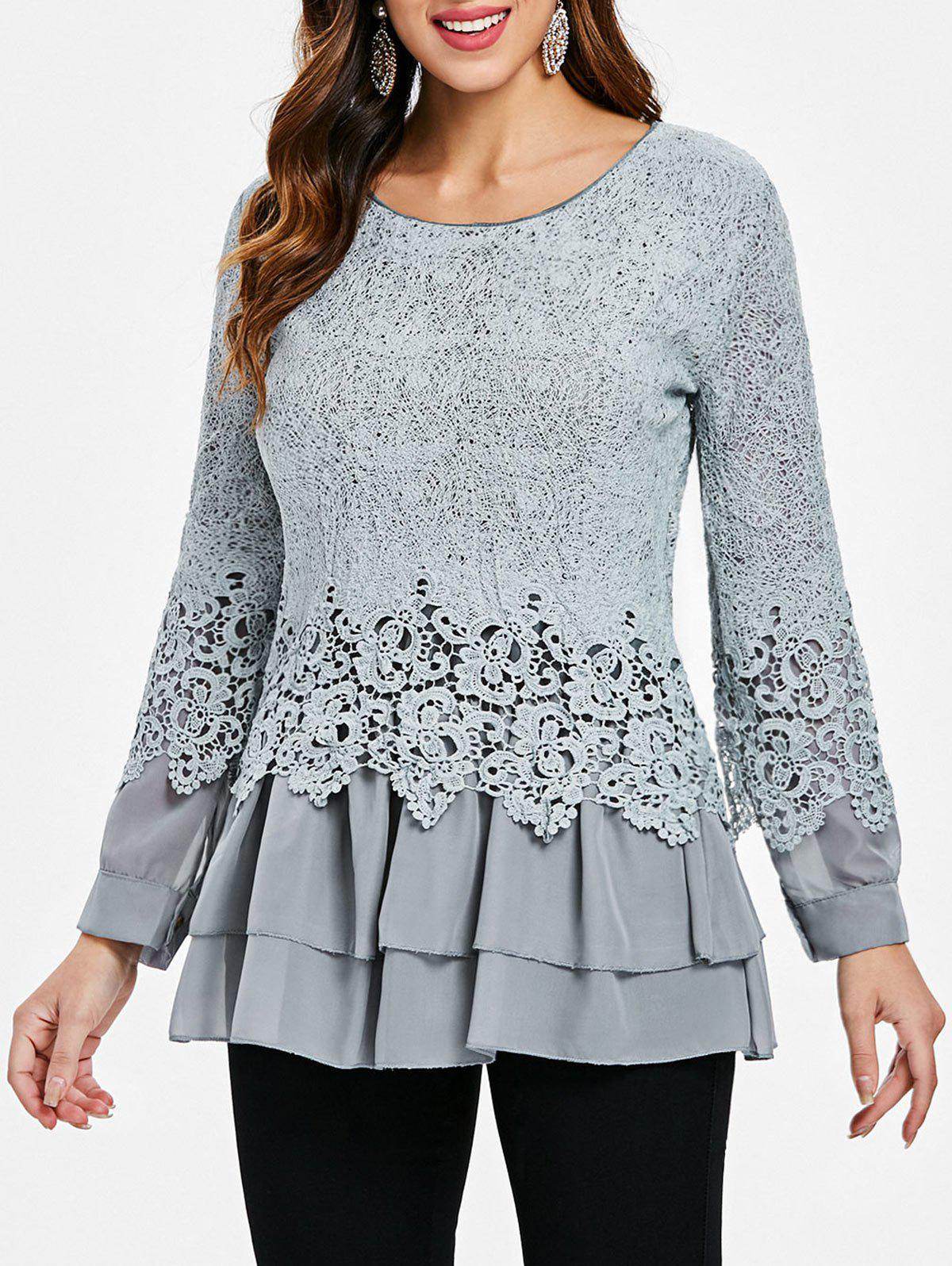 Buy Lace Panel Long Sleeve Casual Top