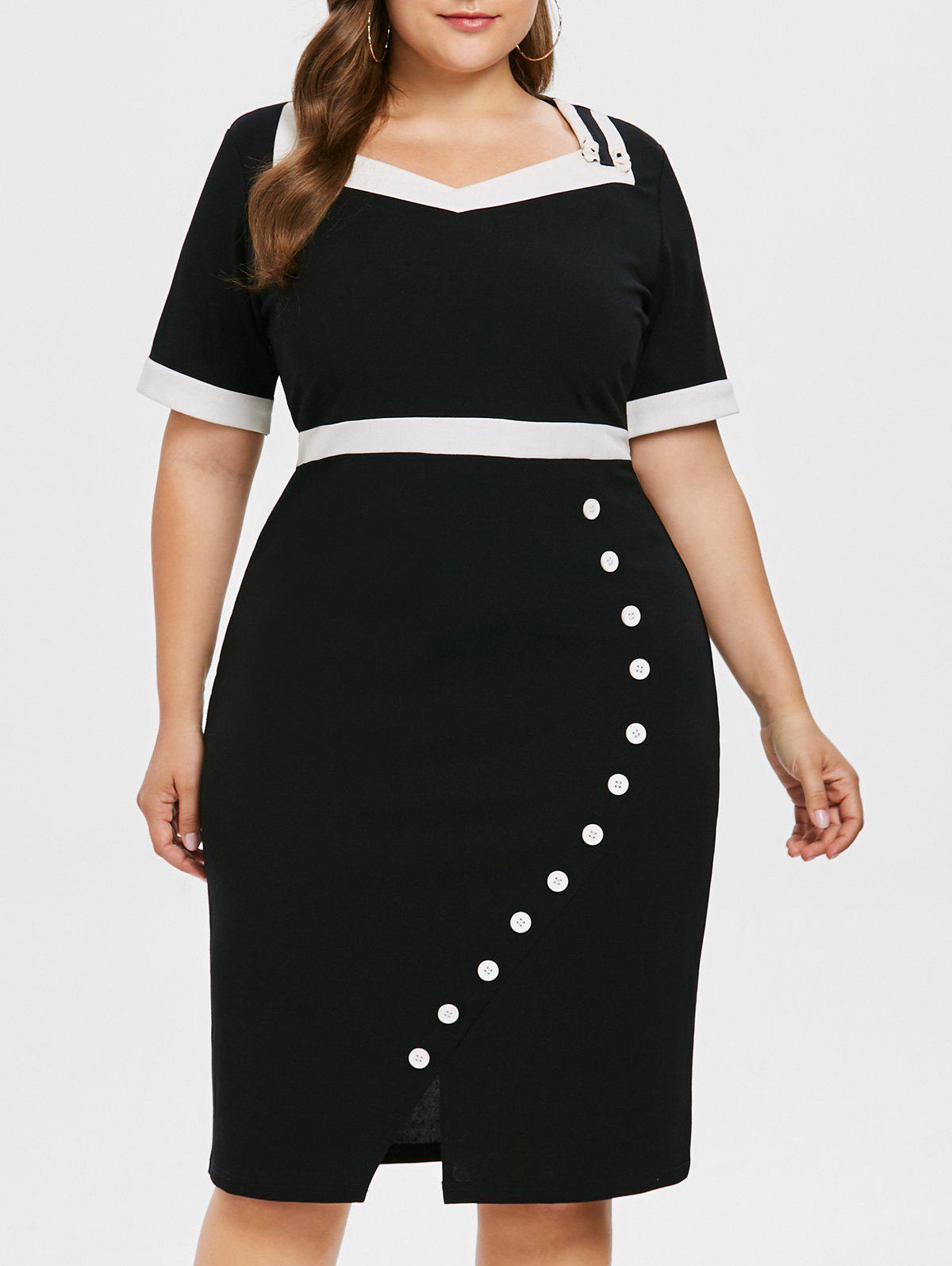 Store Sweetheart Neck Plus Size Button Embellished Bodycon Dress