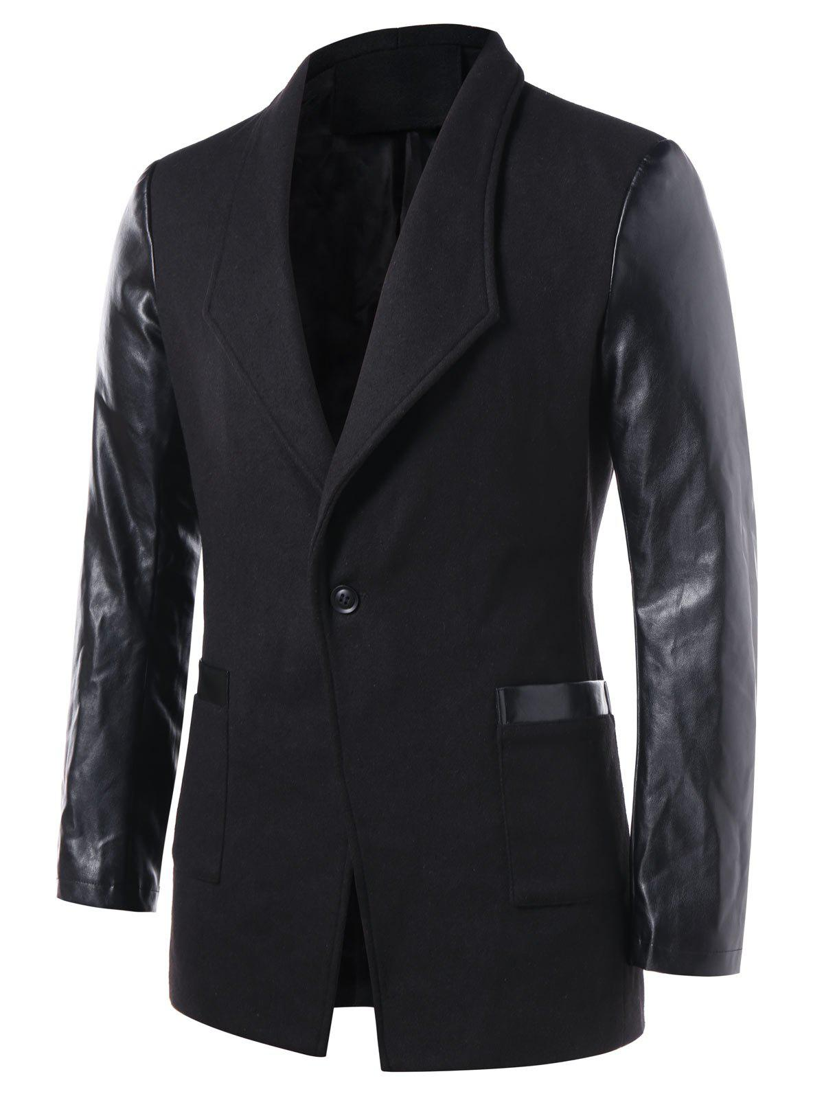 Affordable Slim Fit PU Leather Panel Coat