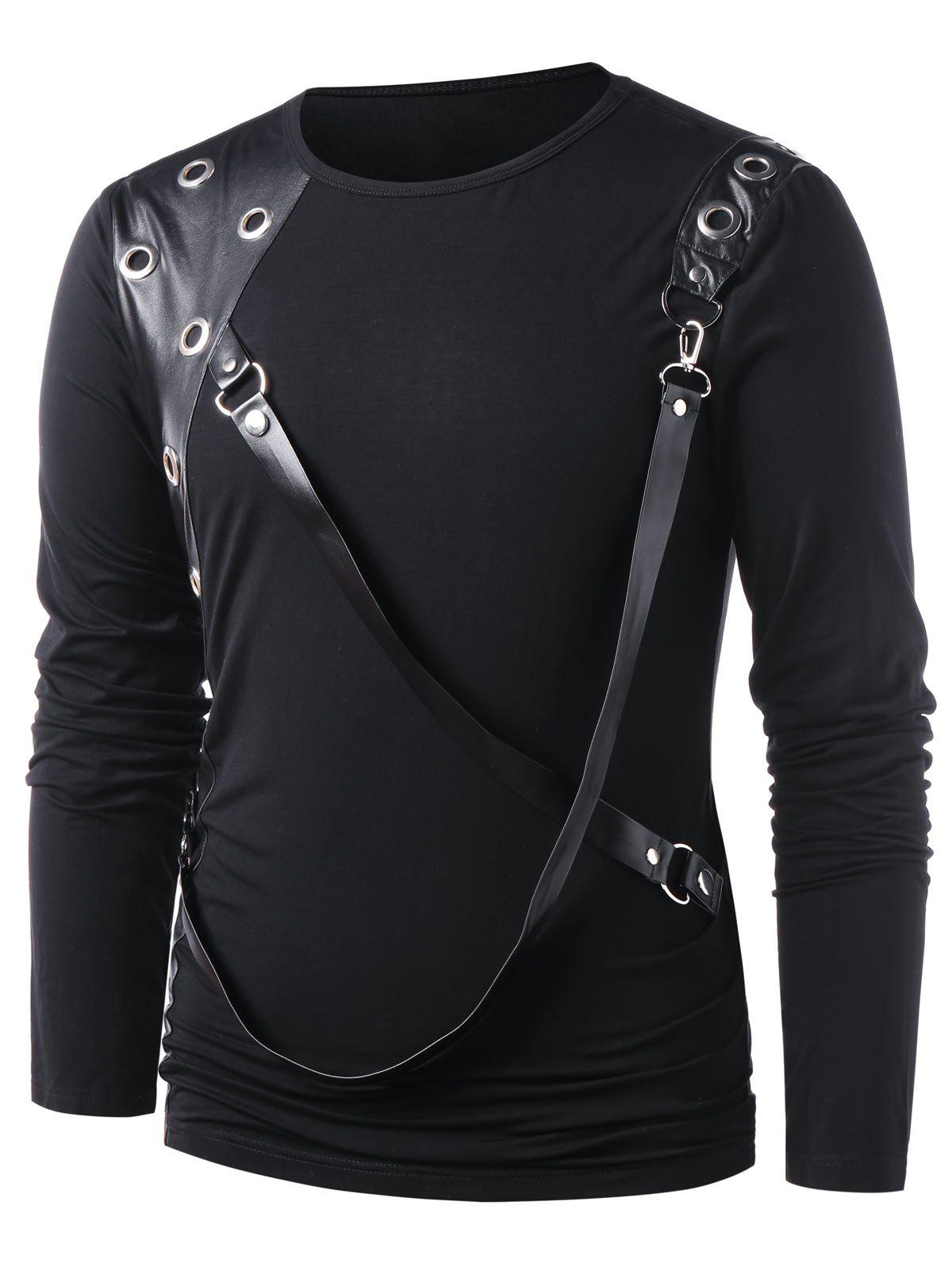 Hot PU Leather Panel Long Sleeve T-shirt