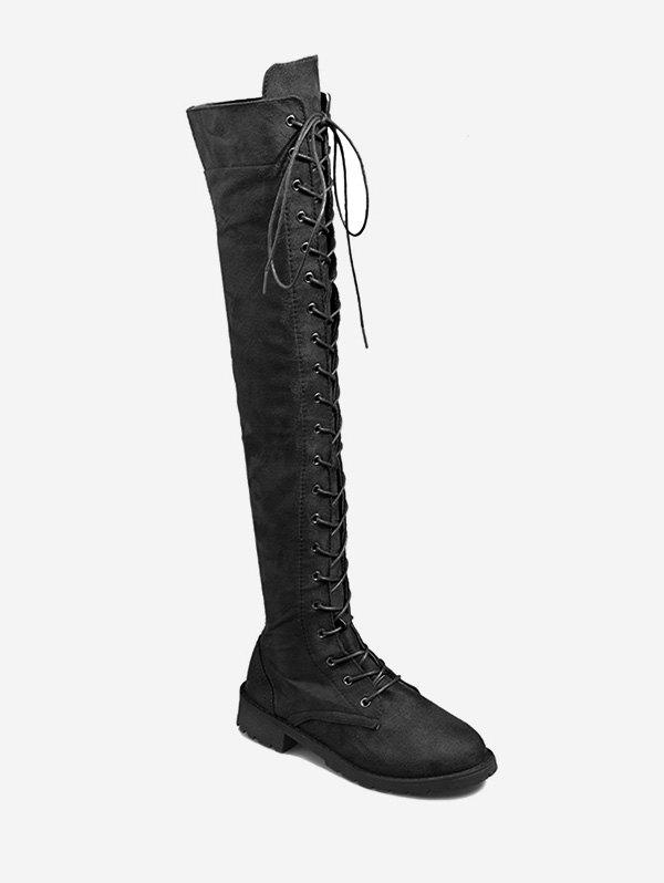 Discount Plus Size Lace Up Casual Knee High Boots