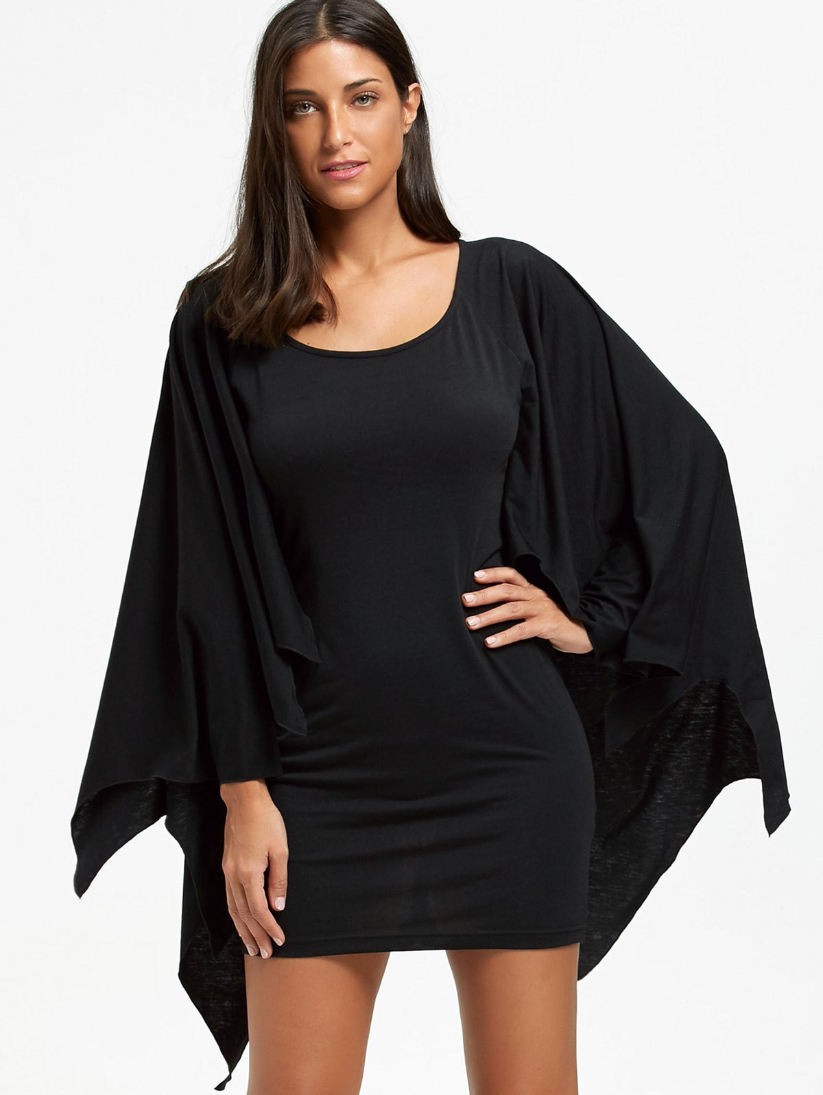 Affordable Halloween Long Sleeve Bat Wings Bodycon Dress