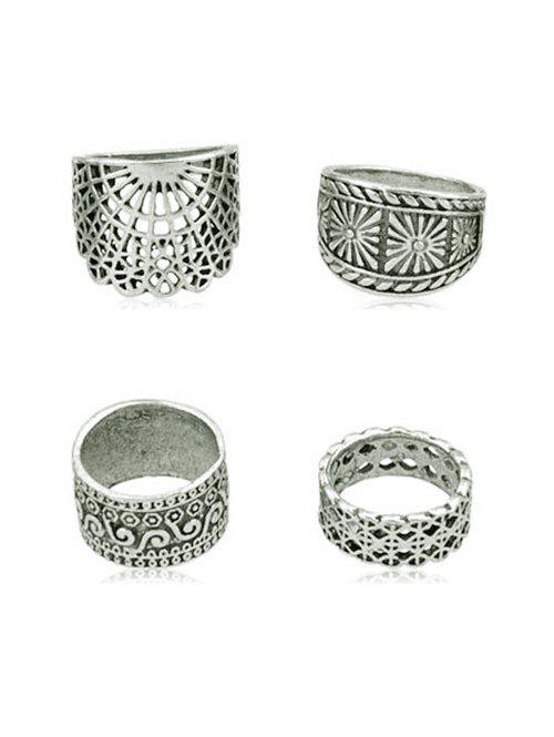 Store 4Pcs Hollow Out Finger Ring Set