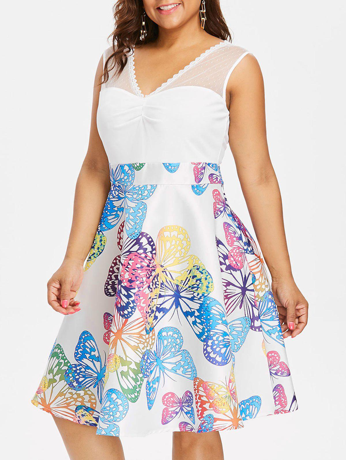 Trendy Butterflies Print Ruched Bust Plus Size Dress