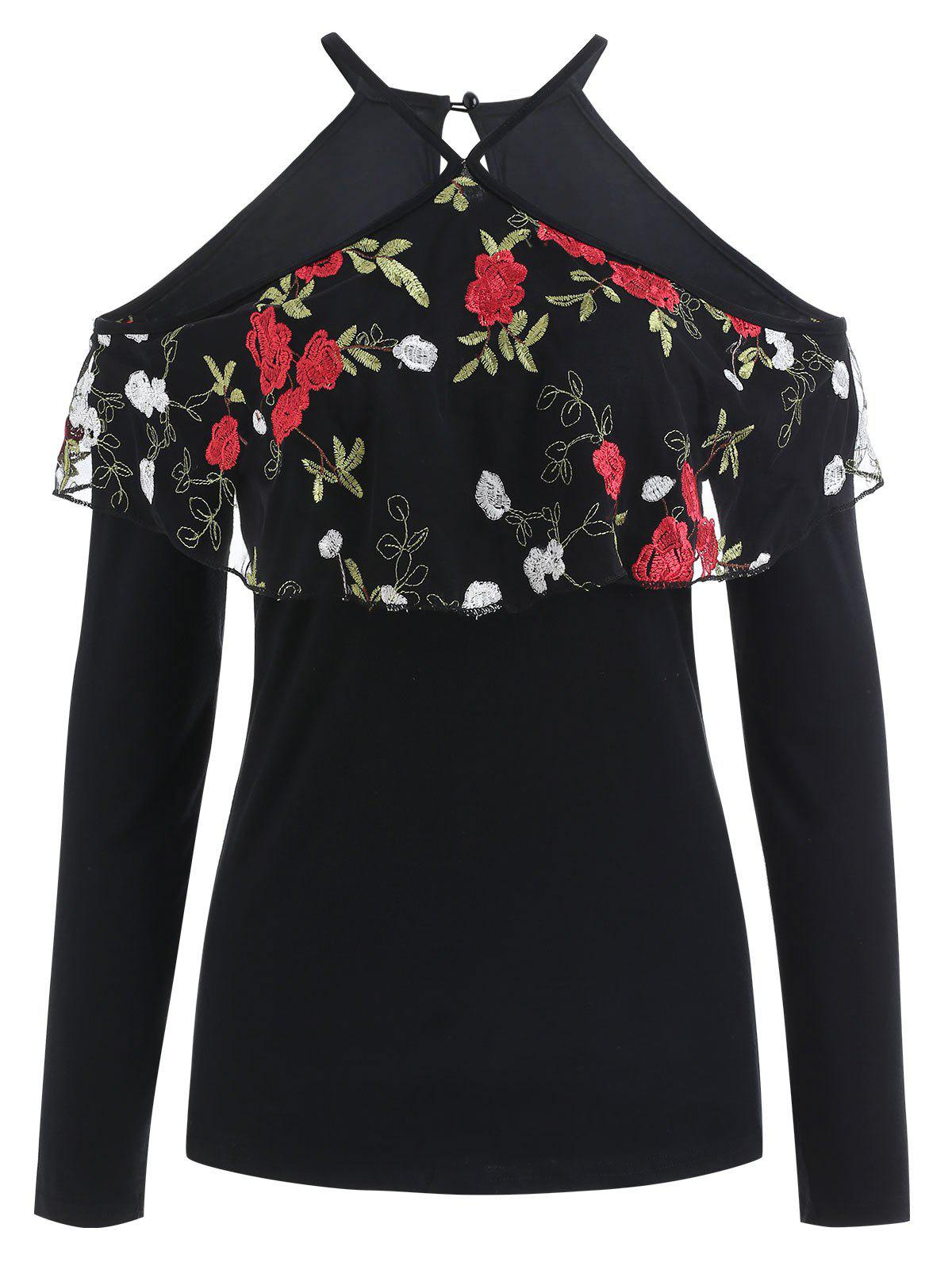 Chic Floral Embroidery Flounce Cold Shoulder Top