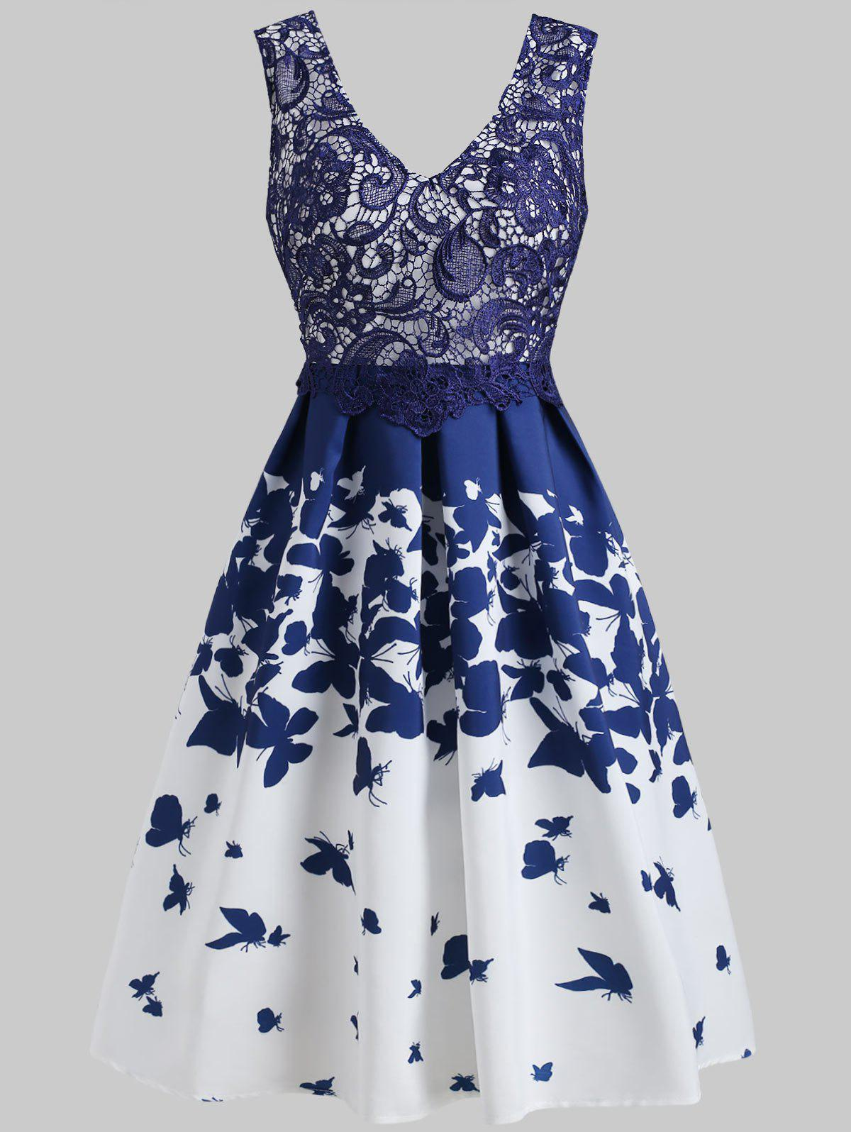 Cheap Lace Panel Butterflies Print Dress