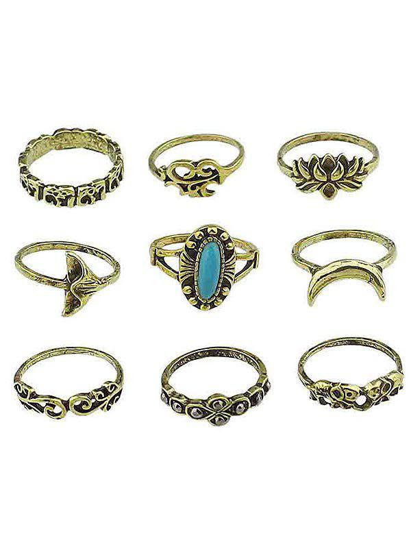 New Artificial Gem Flowers Finger Rings Set