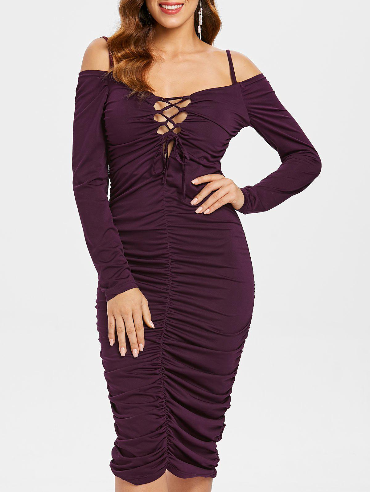 Hot Ruched Cold Shoulder Bodycon Dress