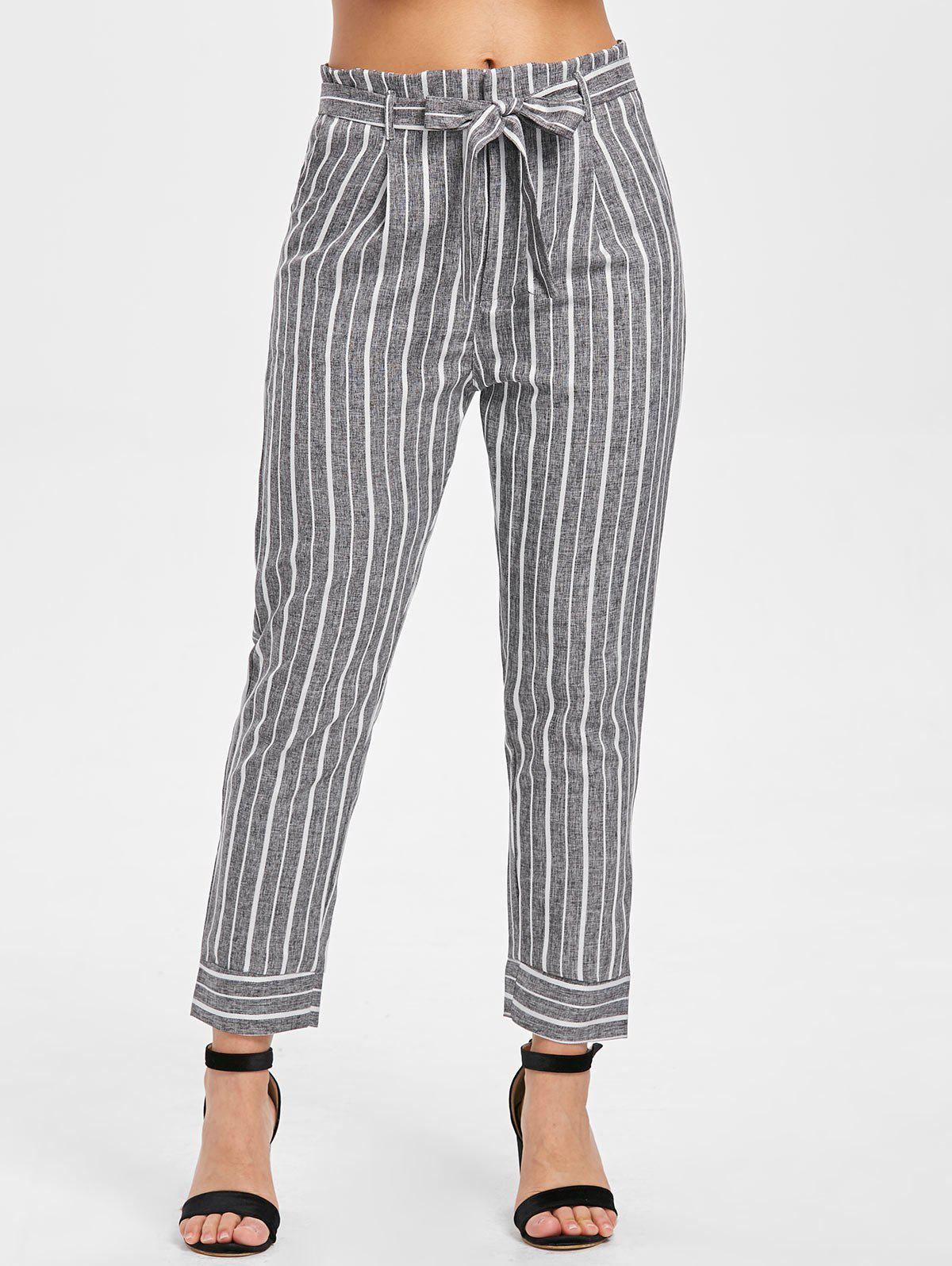 Fancy High Waist Striped Panel Pants with Belt
