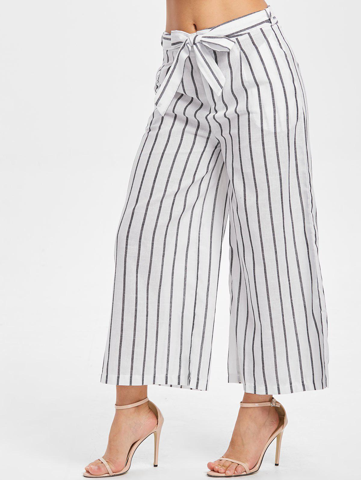 Outfit Belted Striped Panel Wide Leg Pants