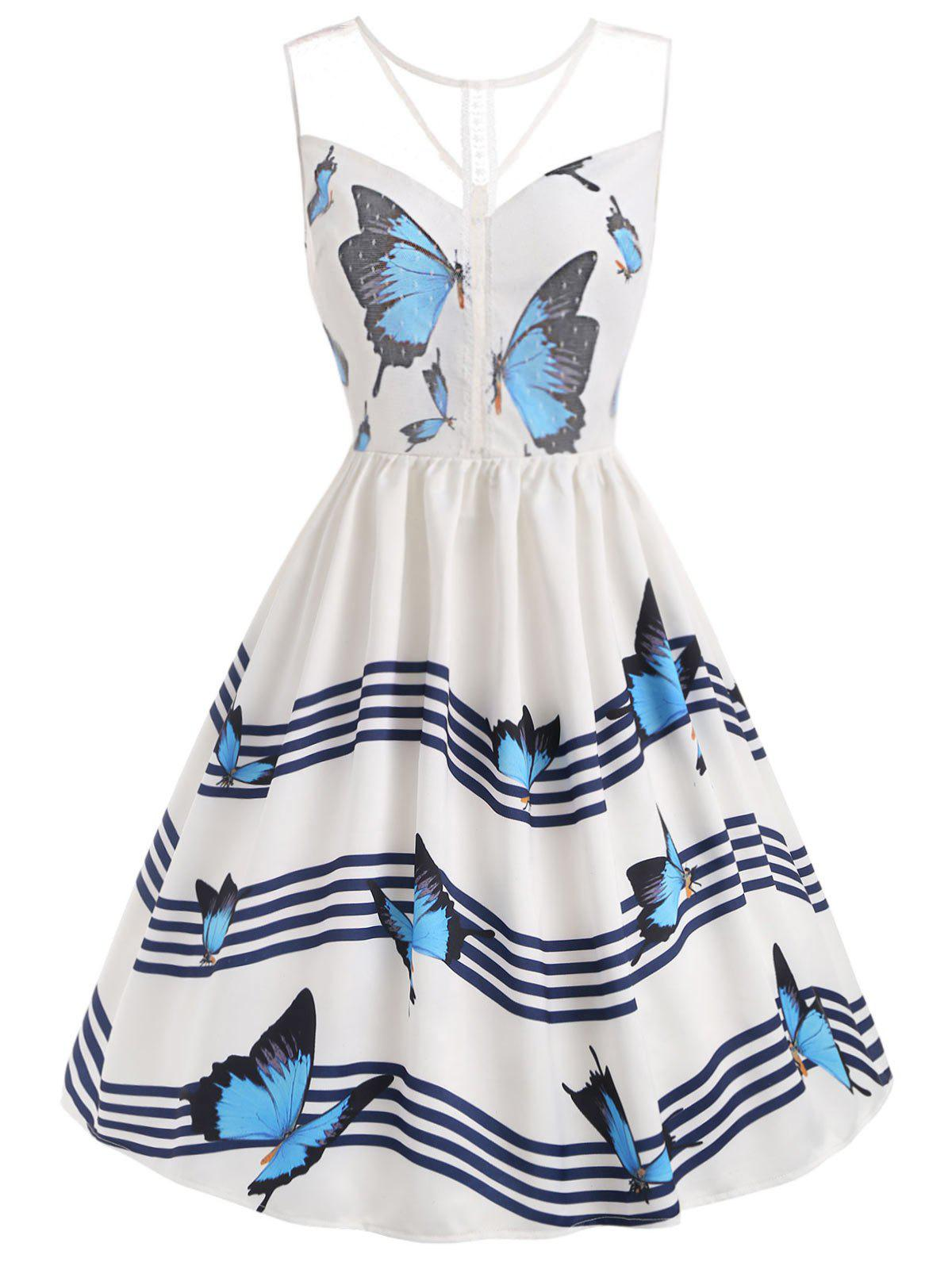 Trendy Butterfly Wave Stripe Print Sleeveless Vintage Dress