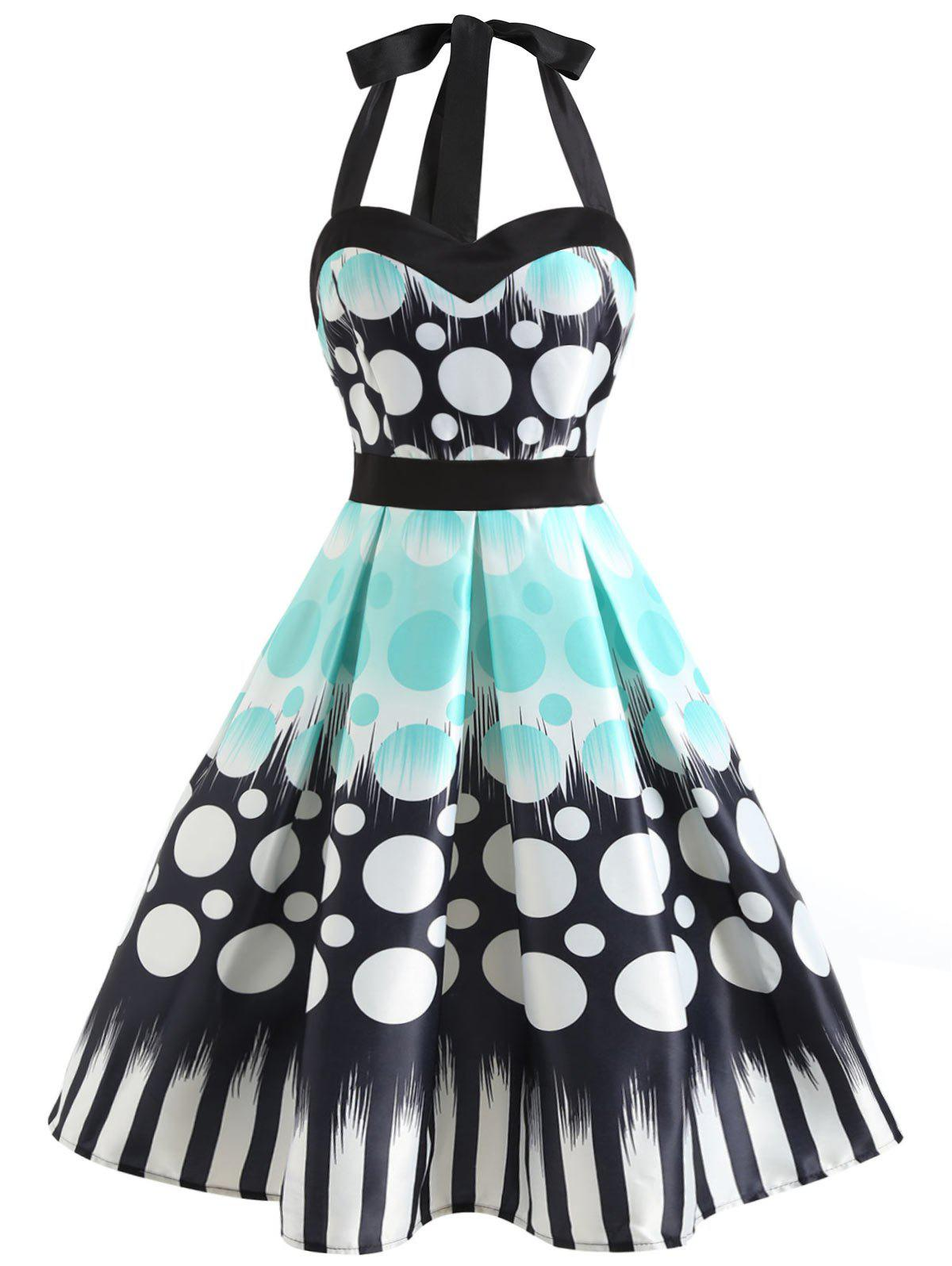 Unique Halter Neckline Polka Dot Print Dress