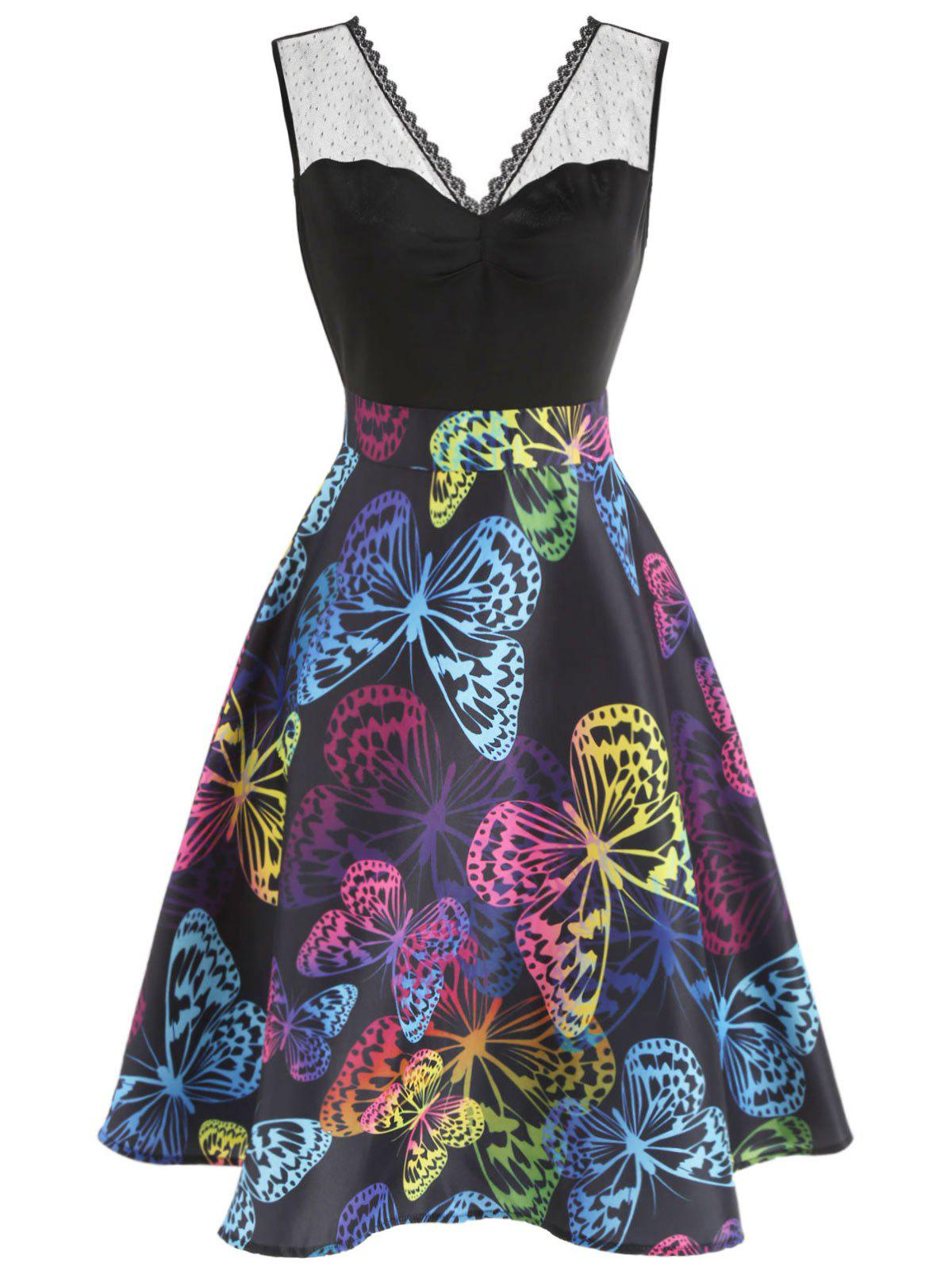 Shop Butterflies Print Ruched Bust Vintage Dress