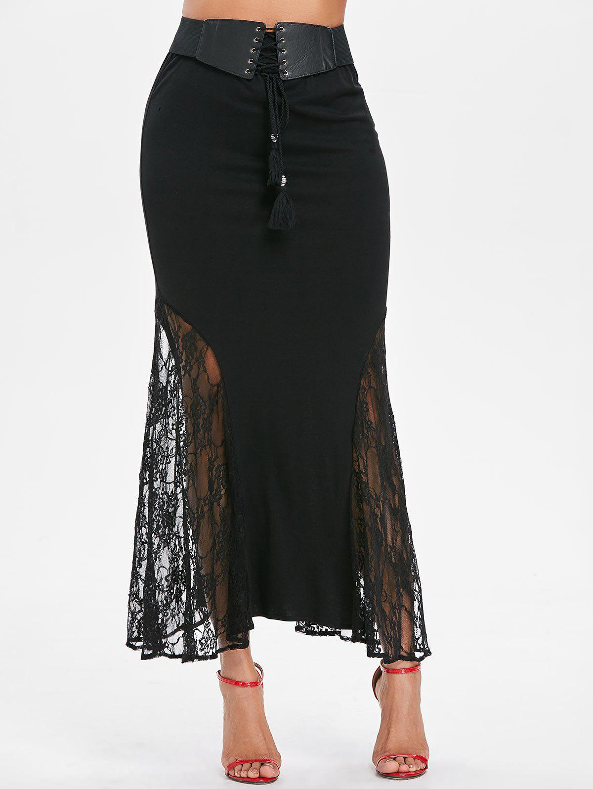 Online Lace Panel Maxi Fishtail Skirt