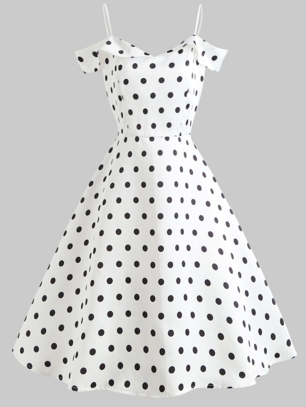 Outfit Polka Dot Print Cold Shoulder Vintage Dress