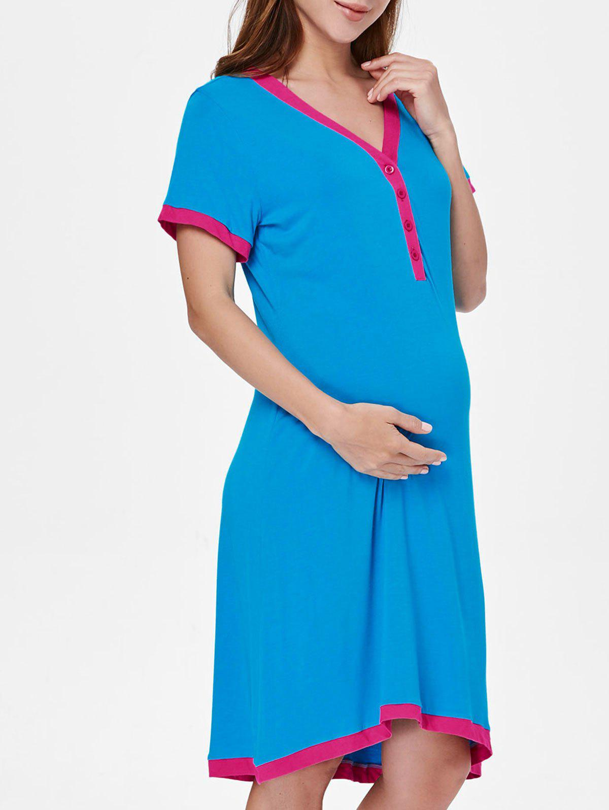 Hot Short Sleeve Color Block Sleep Dress