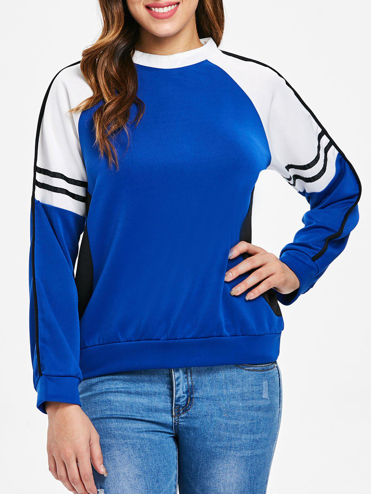 Fancy Striped Panel Sleeve Color Block Pullover Sweatshirt