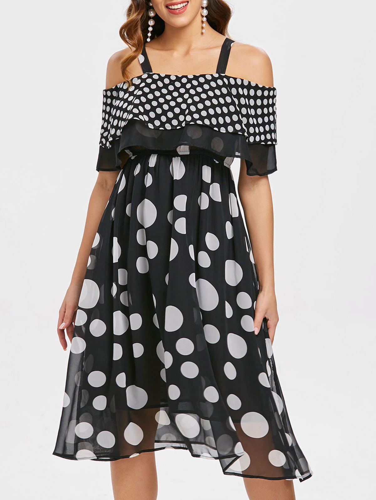 Latest Open Shoulder Dotted A Line Dress