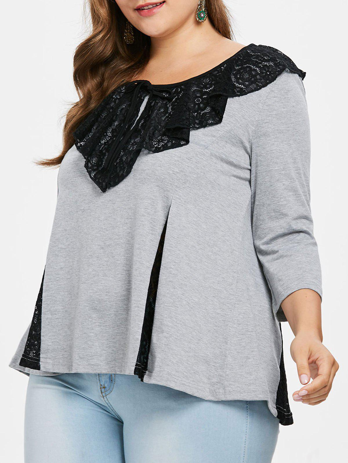 Shops Plus Size Lace Collar Flared Top