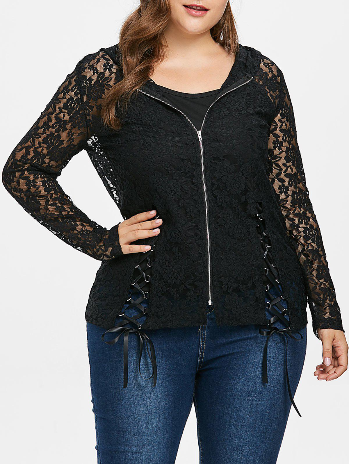 Latest Plus Size Lace Up Lace Jacket with Camisole