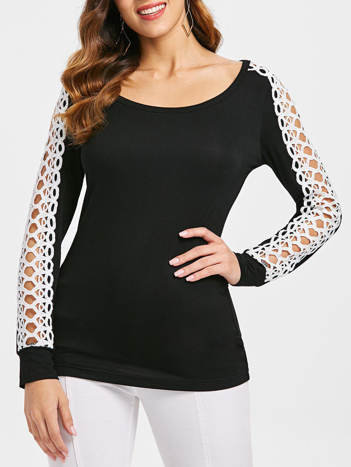 Outfits Hollow Out Crochet Insert Full Sleeve T-shirt