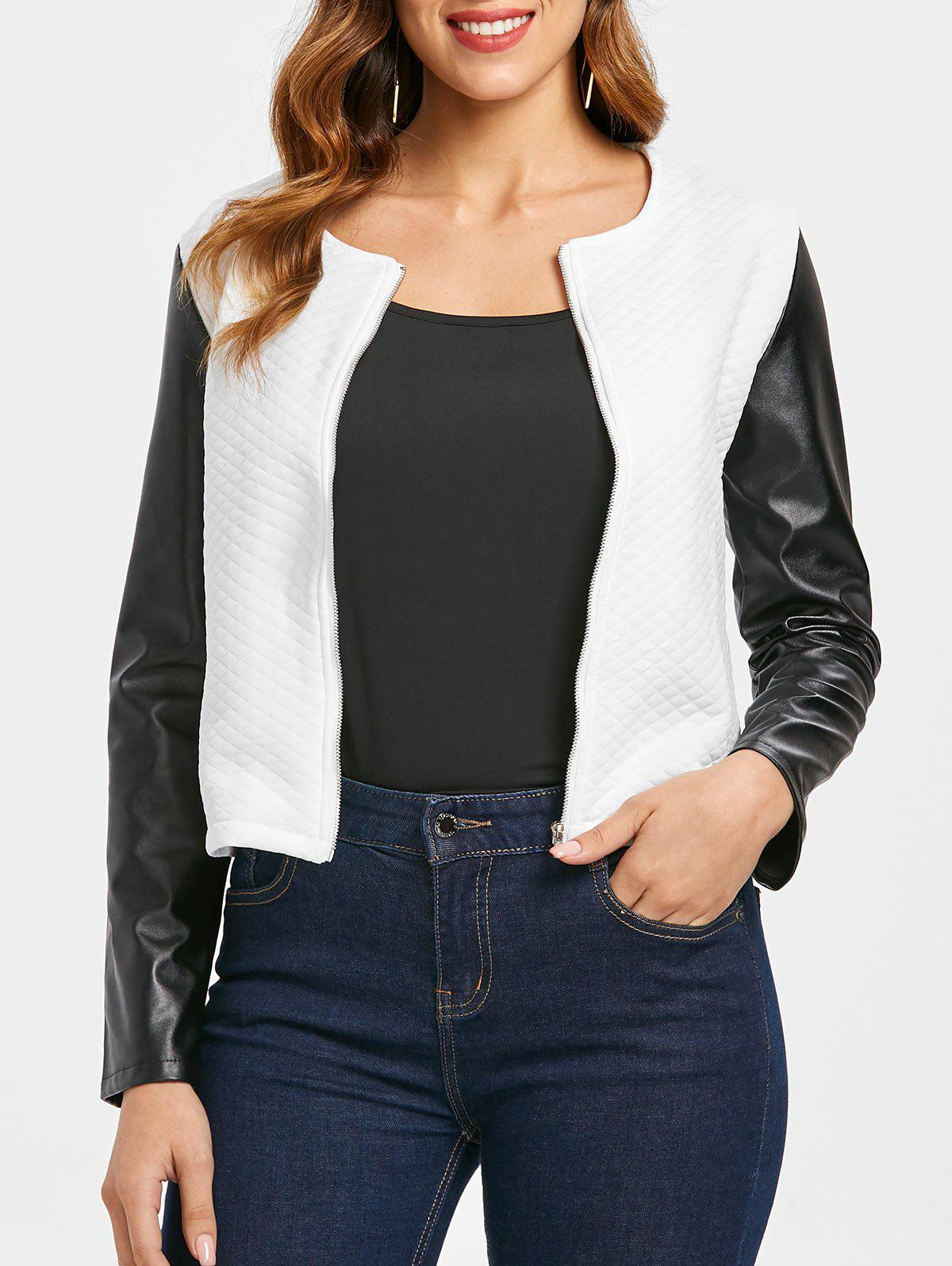 Fancy Color Block PU Sleeve Jacket