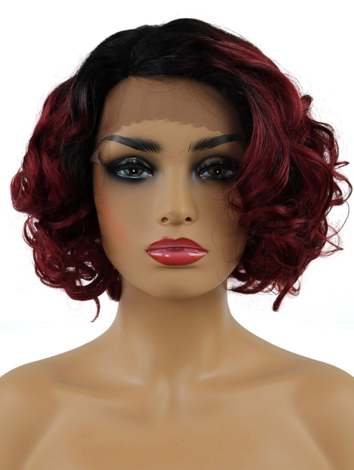 Outfit Short Side Parting Curly Synthetic Lace Front Wig