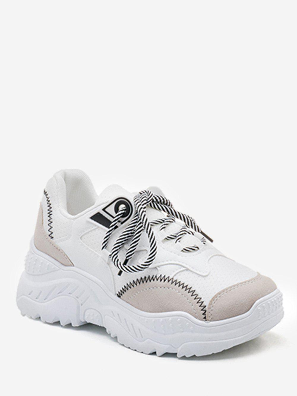 Sale Contrasting Color Leisure Lace Up Sneakers