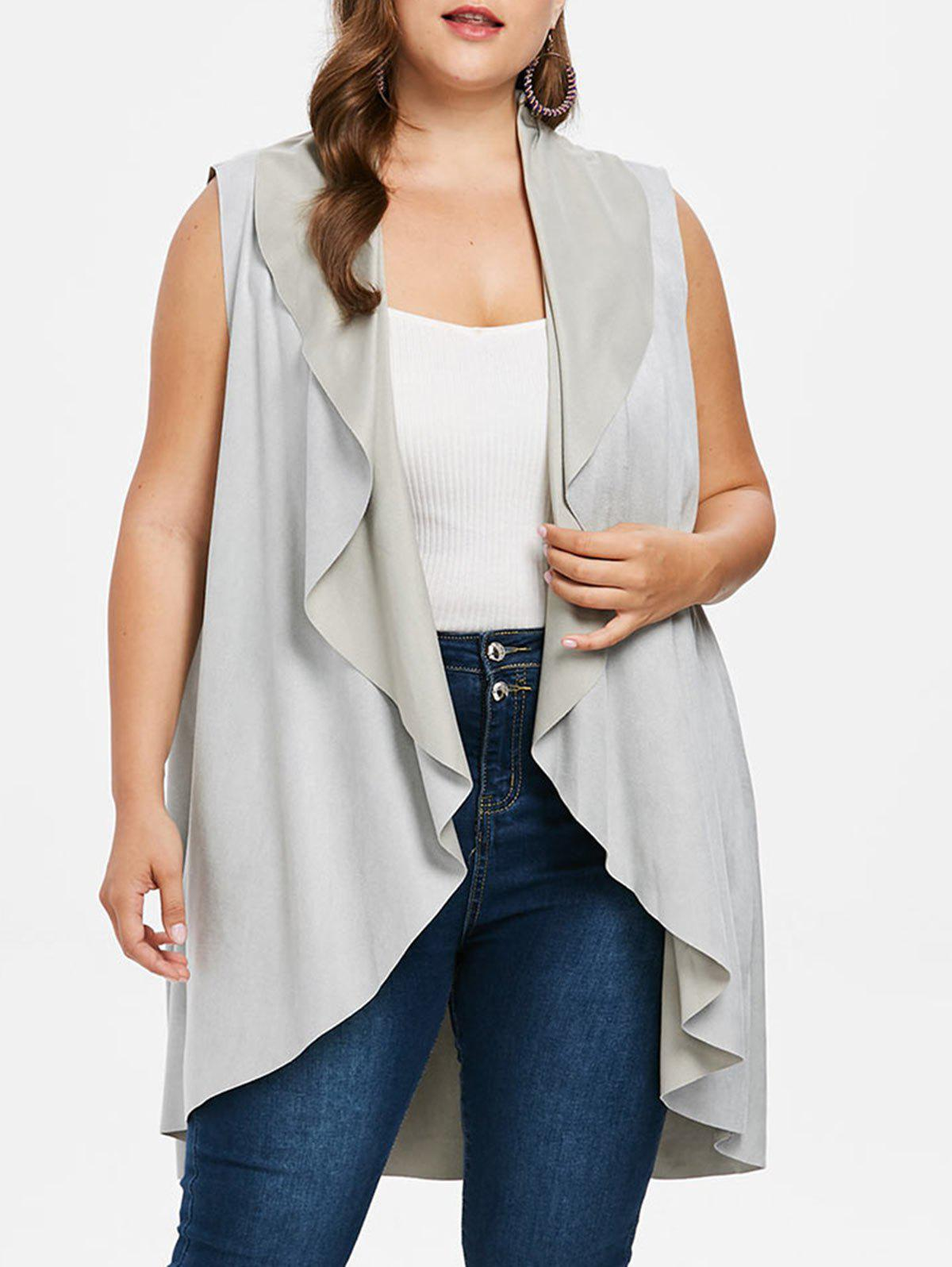 Shops Plus Size Faux Suede Long Vest