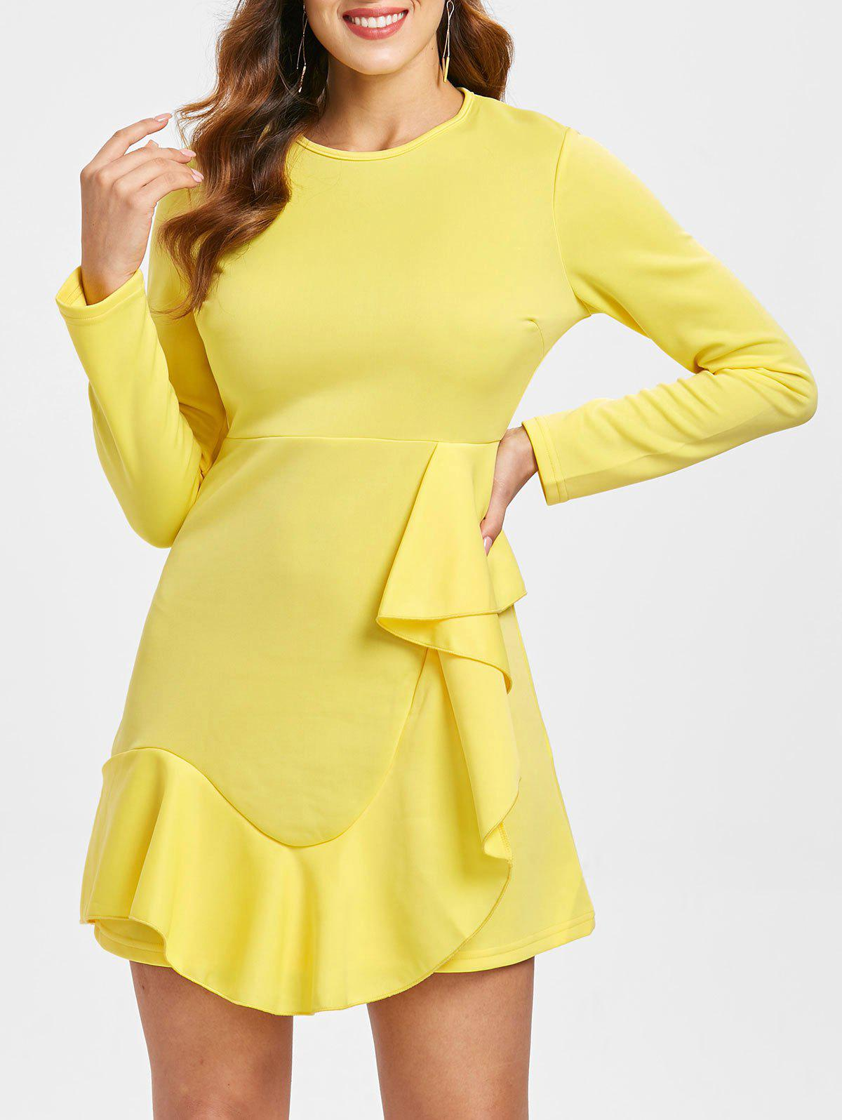 Trendy Flounce Trim Asymmetrical Mini Dress