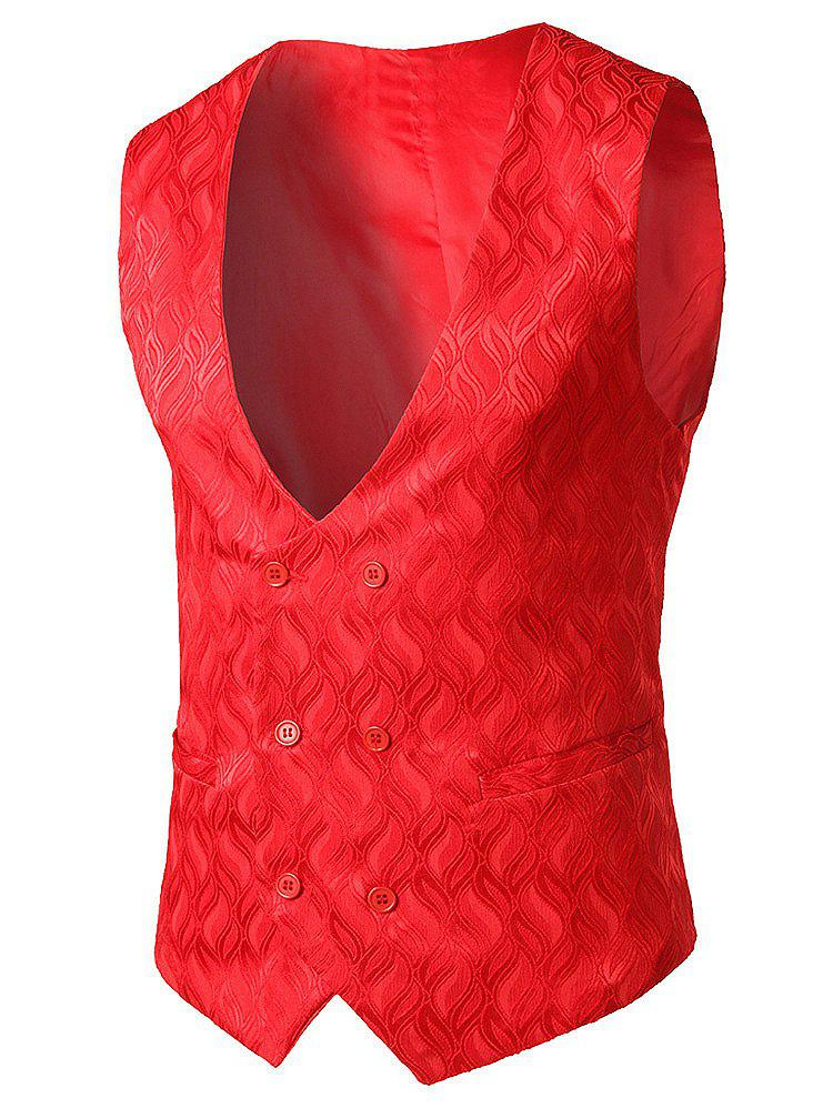 Discount Slim Fit Flame Pattern Waistcoat