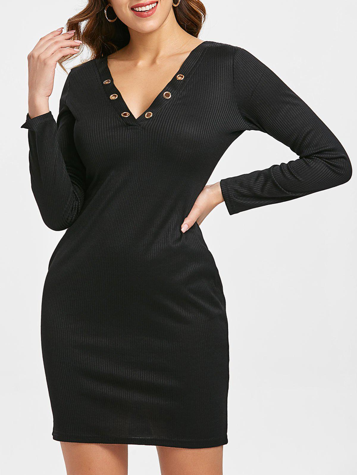 Hot V Neck Ribbed Sheath Dress