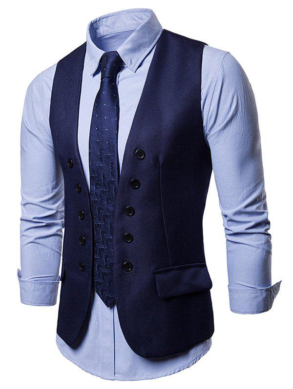 Affordable Faux Flap Pocket Slim Vest