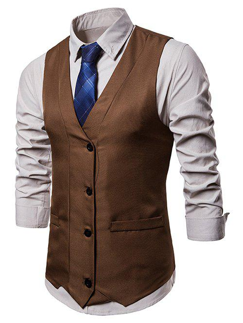 Cheap V Neck False Pocket Vest