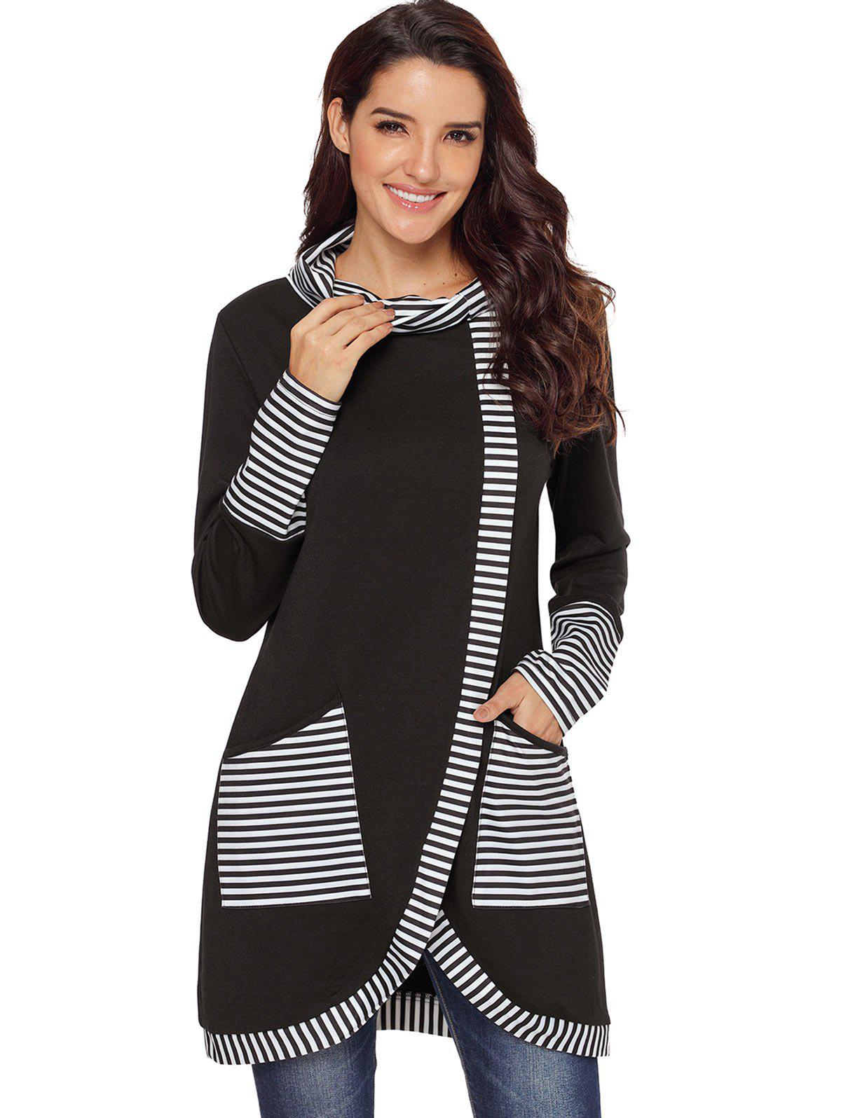 Store Striped Panel Cowl Neck Slit Sweatshirt