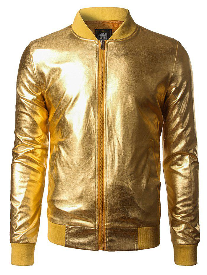 Outfits Costume Front Zipper Shiny Bomber Jacket
