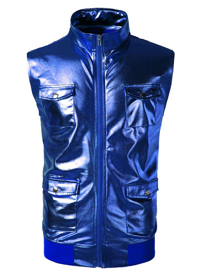 Fancy Costume Zip Up Pockets Shiny Waistcoat