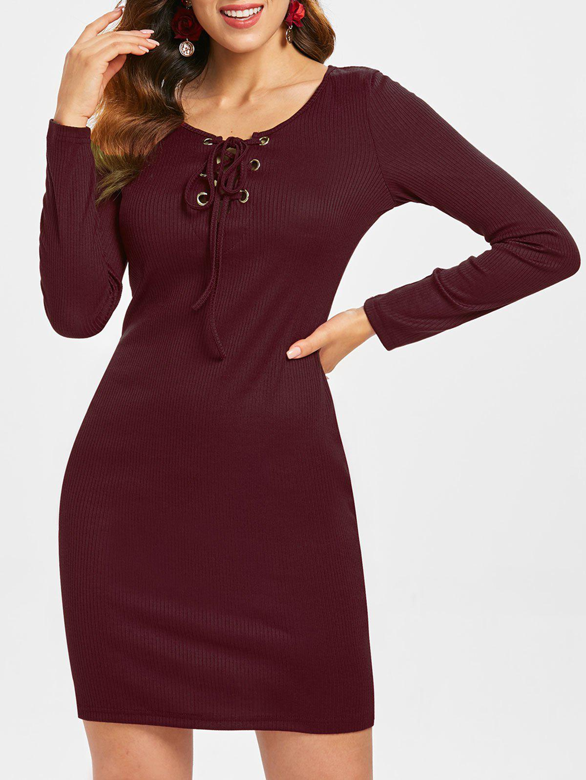 Buy Long Sleeve Lace-up Ribbed Dress
