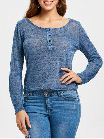 Women's Stylish Pullover Long Sleeve Scoop Neck Solid Color Blouse - BLUE GRAY - XL