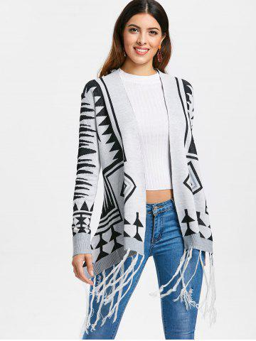 Fashionable Geometric Pattern Tassel Embellished Long Sleeve Cardigan For Women
