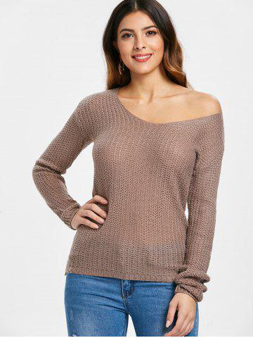 Casual V-Neck Solid Color Long Sleeves Pullover Sweater For Women