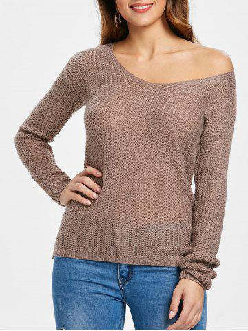 Casual V-Neck Solid Color Long Sleeves Pullover Sweater For Women - PALE PINKISH GREY - L