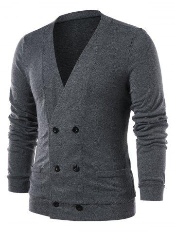 Double Breasted Collarless Solid Color Cardigan