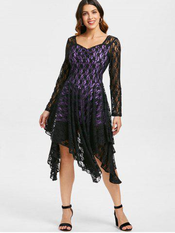 Handkerchief Lace Overlay Midi Dress