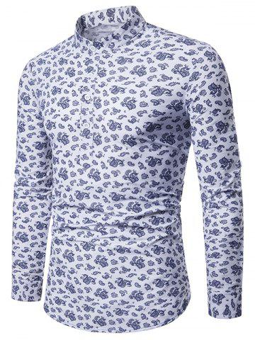 Casual Paisley Print Roll Up Sleeve Half Button Shirt