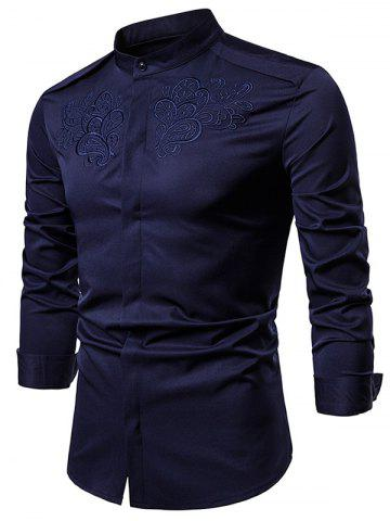 Solid Chest Embroidery Long Sleeve Loose Shirt