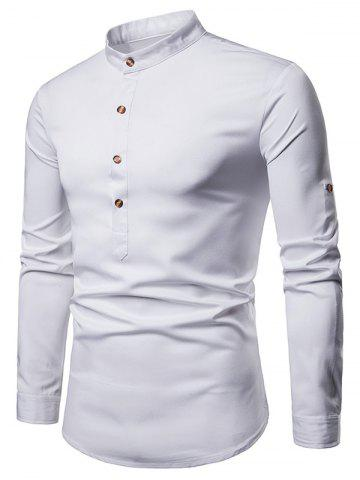 Roll Up Sleeve Design Half Button Solid Shirt